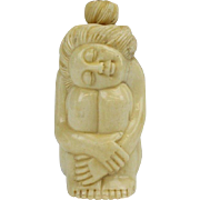 Old Chinese Snuff Bottle Hand Carved Figural Seated Nude Woman