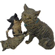 Large Spelter Trio of Cats Figurine