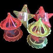 Four Vintage 1950s Twinkler Spinner Christmas Tree Ornaments