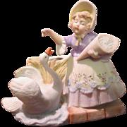 Schafer Vater Girl & Swan Toothpick Holder