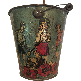 Very Old Tin Sand Pail and Shovel