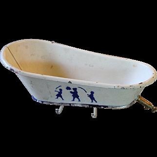 Very Old Toy Tin Bath Tub for Doll House Scene