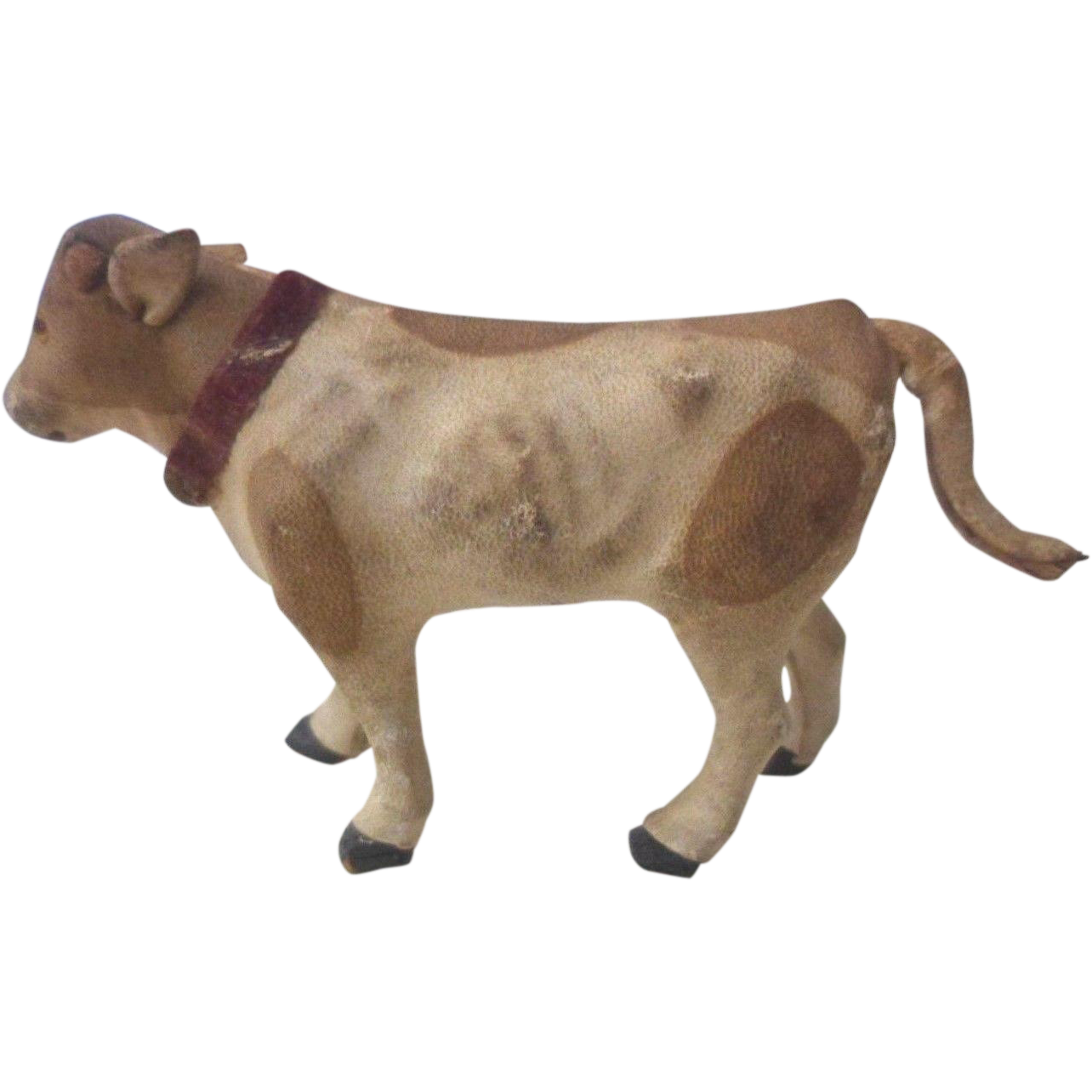 Miniature Putz Leather Covered Toy Cow from antiquefreak