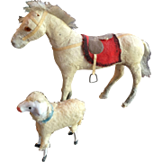 Very Old Horse and Sheep Miniature Toys