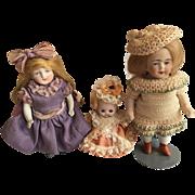Three Little German All Bisque Dolls