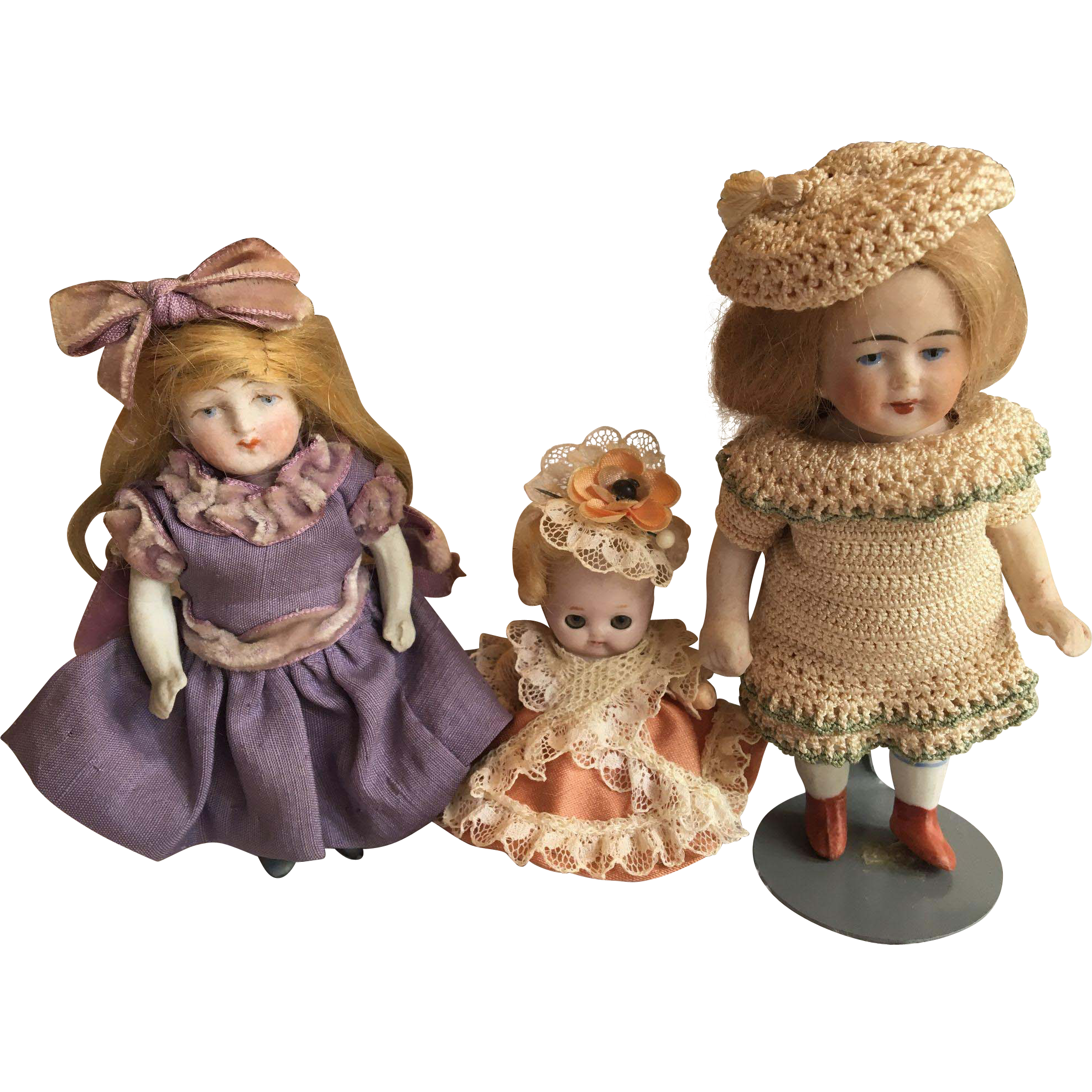 Three Little German All Bisque Dolls