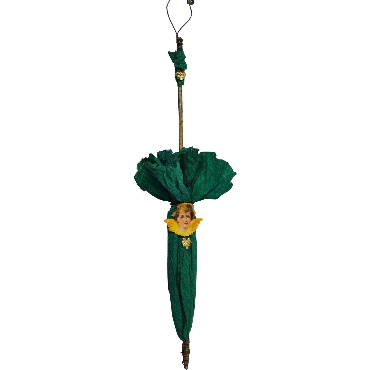 Old Umbrella Shape Christmas Ornament with Scrap Angel