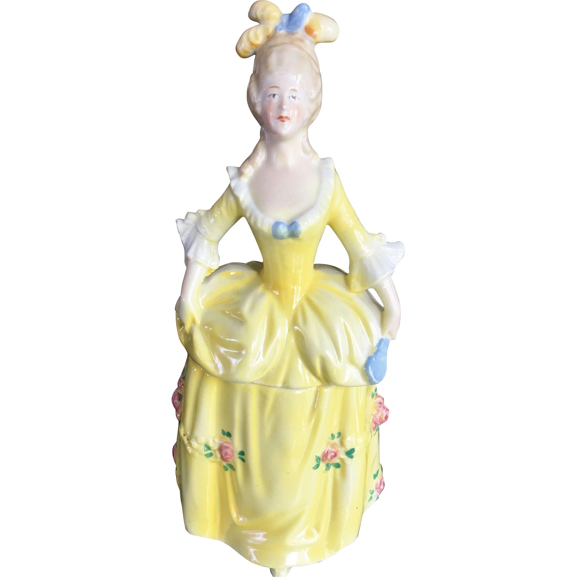 Porcelain Half Doll Vanity Powder Dish