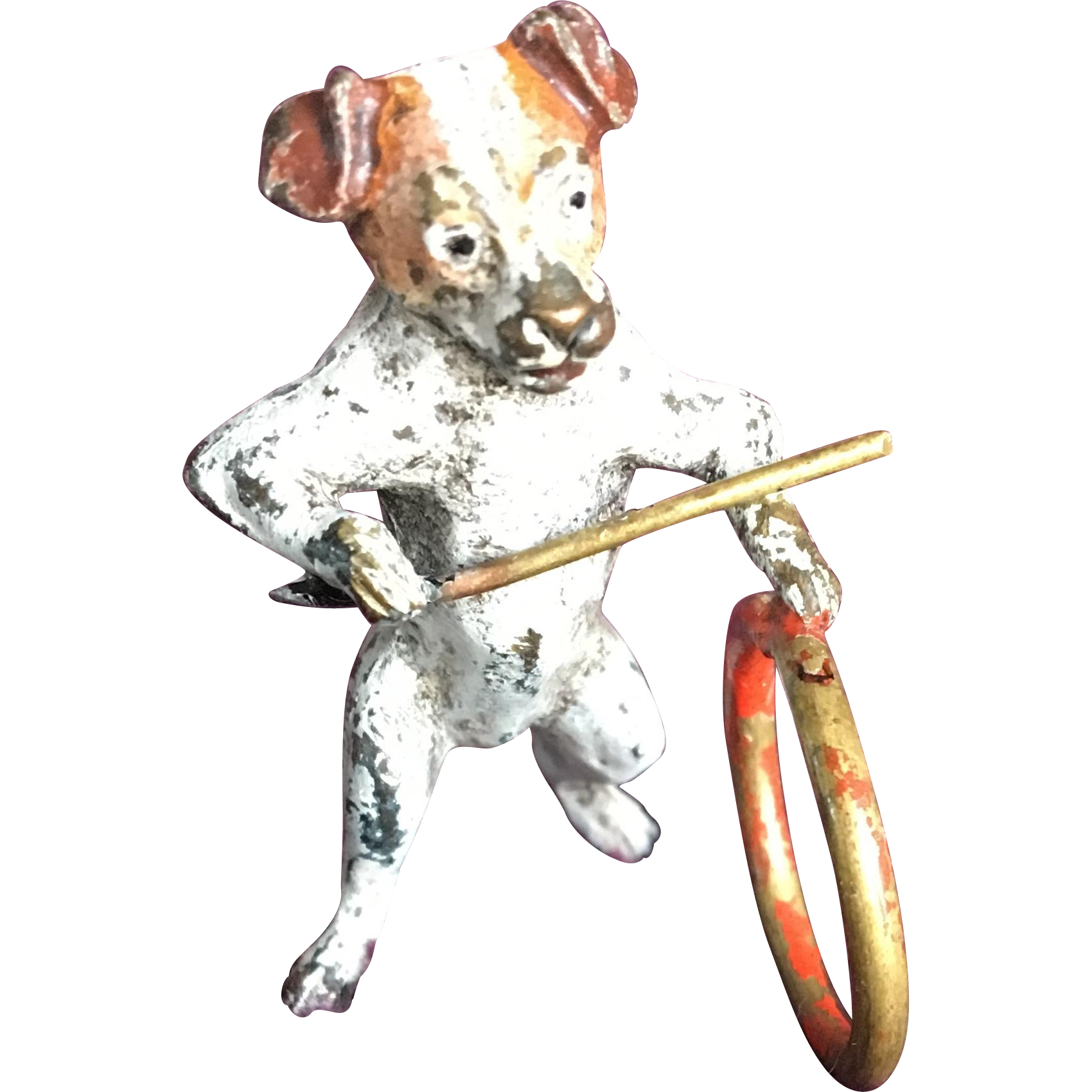 Miniature Vienna Bronze Puppy Dog Playing Stick & Ring Game