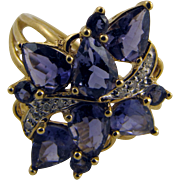 Gorgeous Water Sapphire & Diamond Cocktail Ring Deco Era