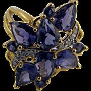 Gorgeous Water Sapphire & Diamond Cocktail Ring Deco Era