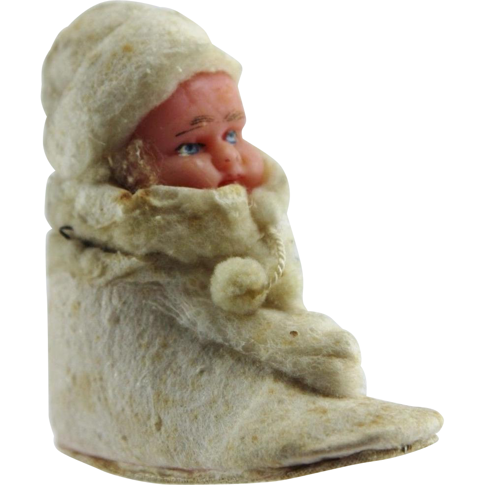 Antique Wax Baby Doll in Shoe Christmas Candy Container Ornament