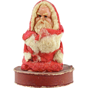 Rare Wax Santa Claus Candy Container of Powder PUff Holder