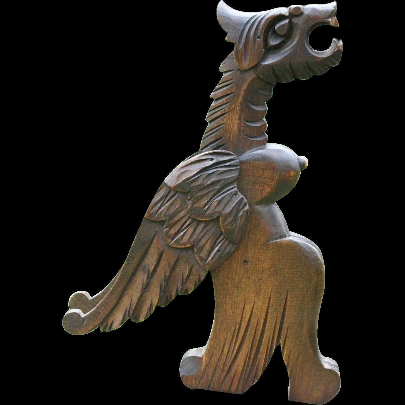 19th Century Gothic Wooden Winged Gargoyle Figure