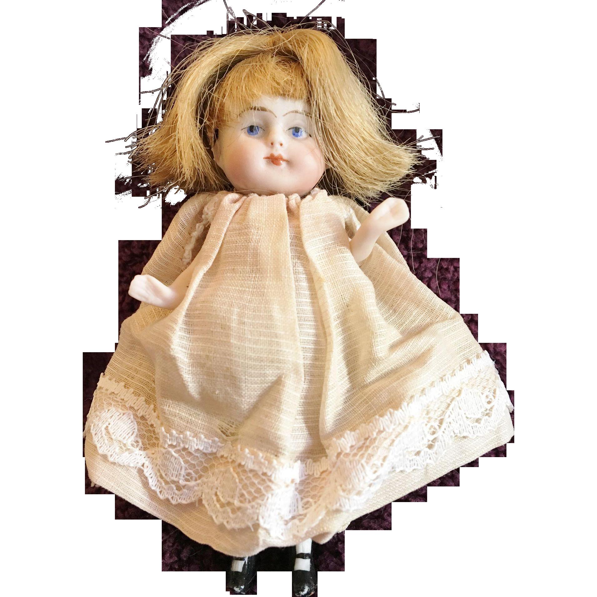 German Wrestler All Bisque Doll Miniature Dollhouse Size