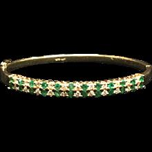 14K Diamond and Emerald Bracelet