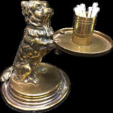 Victorian Style Brass Dog Match Holder and Striker