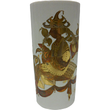 Signed Bjorn Wiinblad Handpainted Rosenthal Studio Line Decorative Vase - Quatre Couleurs