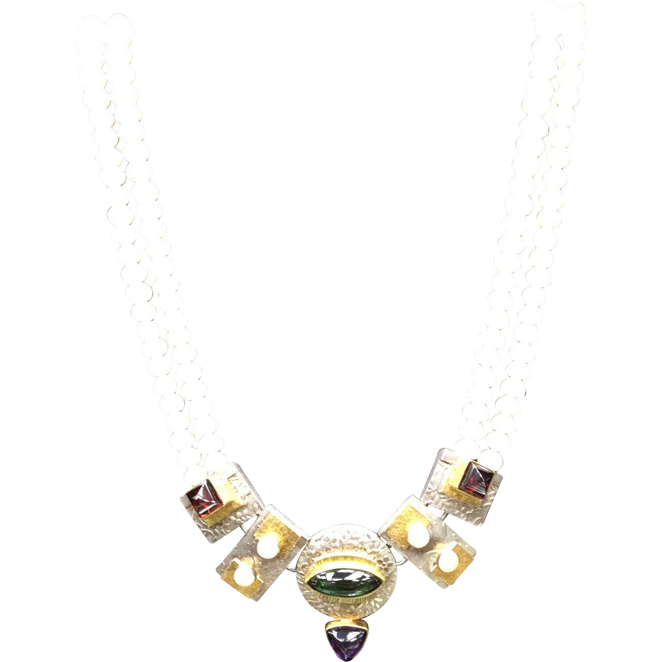 Pearl, Silver, and Gold Craft Necklace