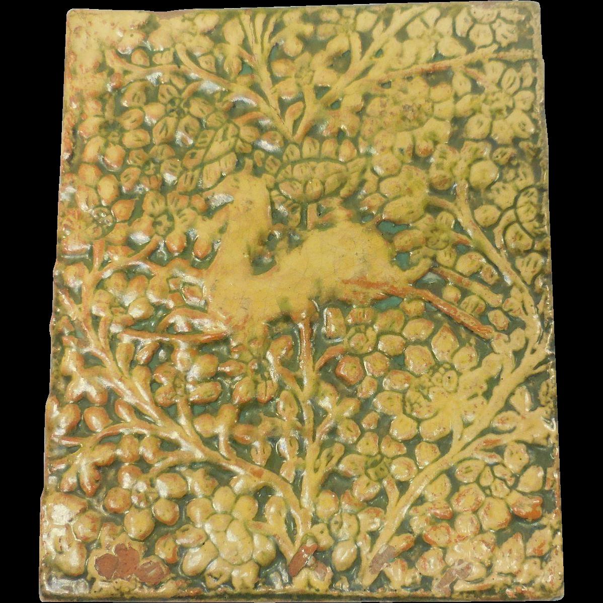 Rare Original Moravian Ceramic Covered Tile - Persian Antelope With Yellow Flowers Design