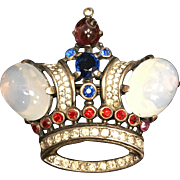 Trifari Crown Jelly Belly Pin Brooch Genuine