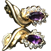 14K Gold Earrings with Diamonds and Amethyst