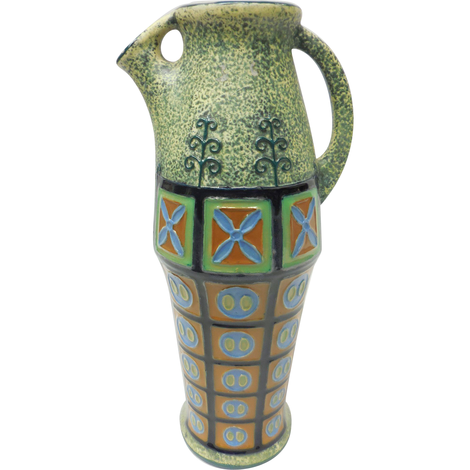 Art Nouveau Czechoslovakia Amphora Green Ceramic Vase Pitcher