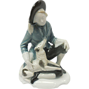 c. 1914 Signed Selb-Bavaria German Rosenthal Lad & Dog Porcelain Figurine by Karl Himmelstoss