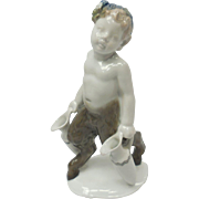 c. 1927 Signed Selb-Bavaria German Rosenthal Young Satyr Carrying Amphora Pitchers Porcelain Figurine by Karl Himmelstoss