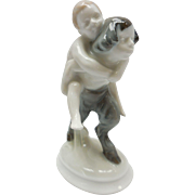 c. 1920 Selb-Bavaria German Rosenthal Faun Carrying Nude Child Porcelain Figurine by A. Caasman