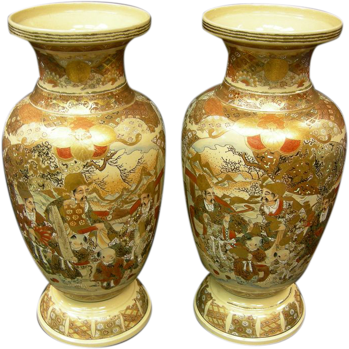 Japanese Satsuma Pair Of Vases The Antique Gallery Pa