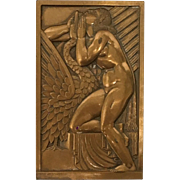 Bronze Plaque depicting Greco-Roman Myth of Leah by artist Andre Lavriller
