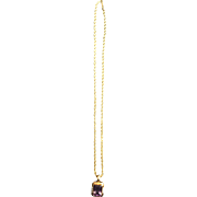 14K Gold Amethyst with Diamonds Pendant