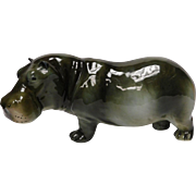 Porcelain Hippo Sculpture by Royal Dux