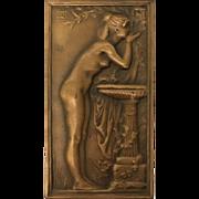 Bronze Plaque with Nude Woman by artist Daniel Dupuis