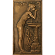 Bronze Plaque with Nude Woman by artist Daniel Dupuis