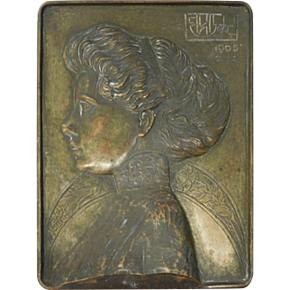 Bronze Plaque with Profile of Victorian Woman