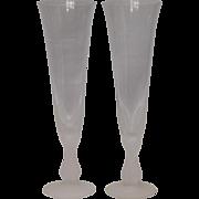 Sasaki Crystal Stemware Flute Glasses: Wings