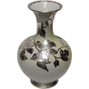 Japanese Studioware Vase: Ceramic with Silver Overlay by Denshichi Kanzan