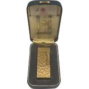 Dunhill Rollagas Swiss Made Gold Plated Lighter With Bark Pattern Texture and Case