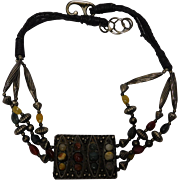 Metal/Gemstone/Leather Ethnic Necklace