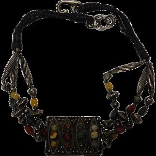 Metal/Gemstone/Leather Ethnic Necklace