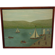 """Oil on Canvas """"Water Sports"""" 16 x 20 in. Painting and Frame by Erwin Neusch"""