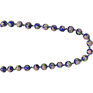 Chinese Ceramic Bead Necklace Featuring Flower Pattern
