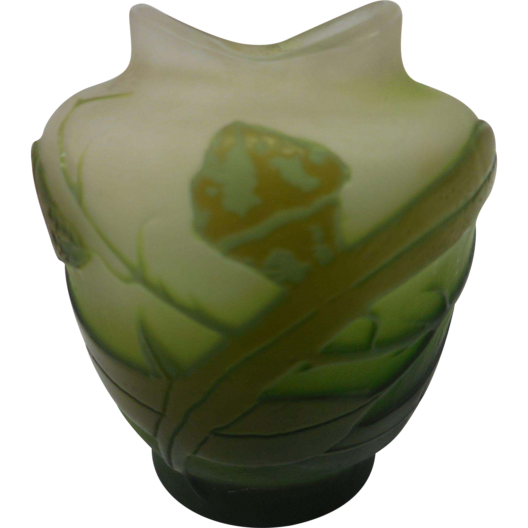 Signed Miniature Galle Green French Cameo Glass Vase