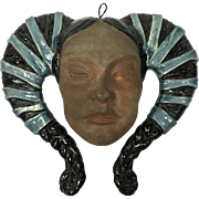 Art Pottery Wall Hanging Mask Woman Ram's Horn Headdress