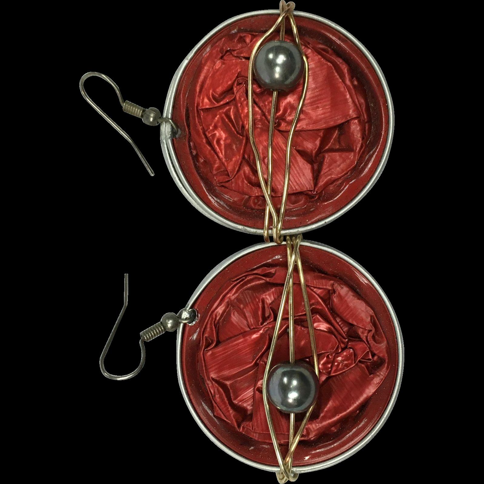 Cultured Black Pearl Keurig Tin Earrings