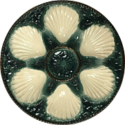 French Majolica Master Oyster Plate by Longchamp c. 1900