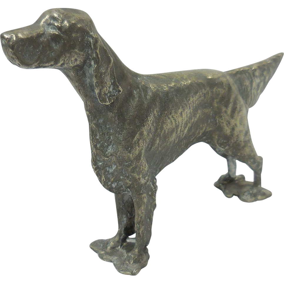 H1084 – Pewter Irish Setter Miniature Figurine Statue or Paper Weight by Irma Andrews