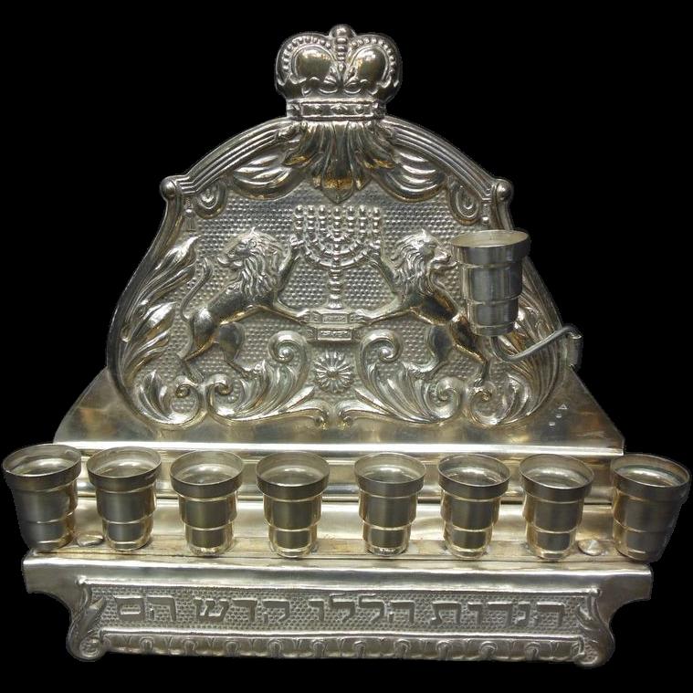 Eastern European Sterling Silver Menorah